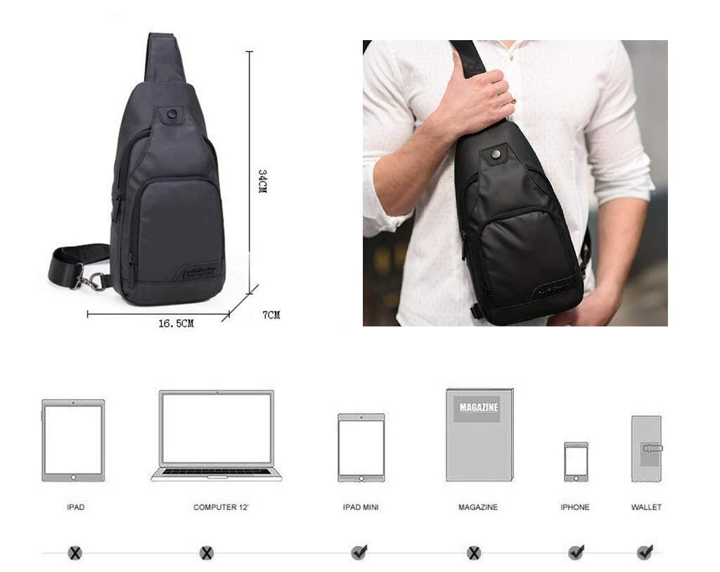 QJXSAN Mens Sling Bag Chest Shoulder Oxford Cloth Sports Shoulder Unbalanced Messenger Bag Gym Outdoor Bicycle