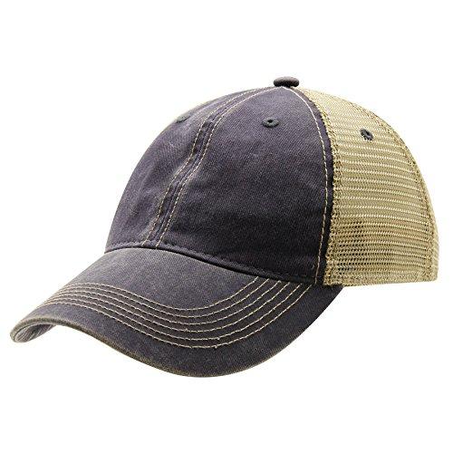 Ouray Sportswear Legend Vintage Wash Trucker Cap, Navy/Khaki, Adjustable