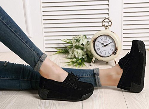 Tassels knot Women's Casual Fitness Wedge Suede Sneakers Black Bow Slip Platform Shoes On Running GFONE Breathable Loafers xICqdBEBw