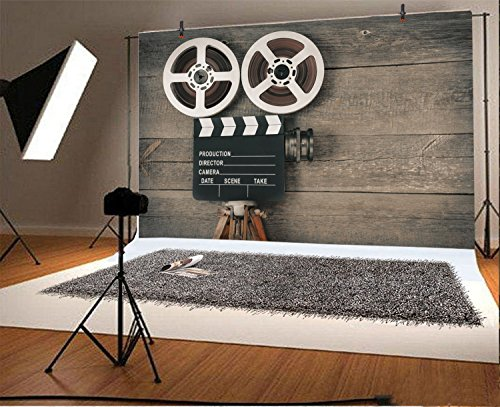AOFOTO 7x5ft Old Movie Camera on Wood Board Background Vintage Film Motion Picture Photography Backdrop Video Reel Director Scene Retro Hollywood Party Decor Banner Photo Studio Props Vinyl Wallpaper from AOFOTO