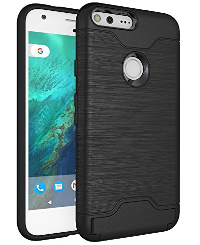 Google Pixel XL Case Wallet, Kick Stand Dual Layer Air Armor Plastic +TPU 2 in 1 with ID Credit Card Slot Holder Back Protective Cover for Google Pixel XL 5.5 Inches (2016) ( Black )