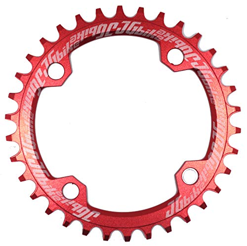 JGbike Elite Round Oval 104mm BCD 32T 34T 36T 38T Narrow Wide Single Chainring for 8 9 10 11 12 Speed MTB XC Trail e-Bike Fat Bike Mountain Bike Bicycle (Color: Round Red, Tamaño: 32T)