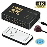 HDMI Switch 4k,GANA Intelligent 3-Port HDMI Switcher,splitter, Supports 4K, Full HD1080p, 3D with IR Remote
