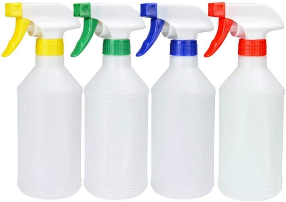 Hosaire 4 piezas 500ml Botellas de Spray Vacías Plástico Contenedor de Spray con Pulverizador Recargable Para el Hogar, Jardín, Limpieza(Color al azar)