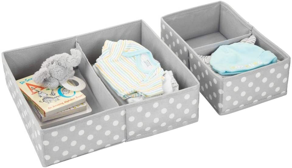 Nursery Divided Organizers in Two Sizes Fun Polka Dot Pattern Light Gray with White Dots Set of 4 mDesign Soft Fabric Dresser Drawer and Closet Storage Organizer Set for Child//Kids Room