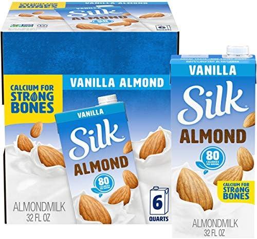 Silk Pure Almond Vanilla 32-Ounce (Pack of 6), Vanilla Flavored Non-Dairy Almond Milk, Dairy-free Milk, Vegan & Plant-Based