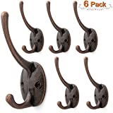 "Arks Royal Dual Coat Hook Wall Mounted Zinc Alloy 1.5"" Small Double Coat Hanger, 6 Pack (Oil Rubbed Bronze)"