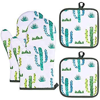 AhlsenL Heat Resistant Oven Mitts + 2 Cotton Pot Holders Non Slip Oven Gloves for Kitchen Cooking Baking, BBQ, Grilling Machine Washable(Cactus)