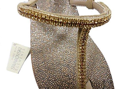 EDDY DANIELE 37 EU Sandalias Chanclas Mujer Beige Gamuza / Cristales Swarovski AW238