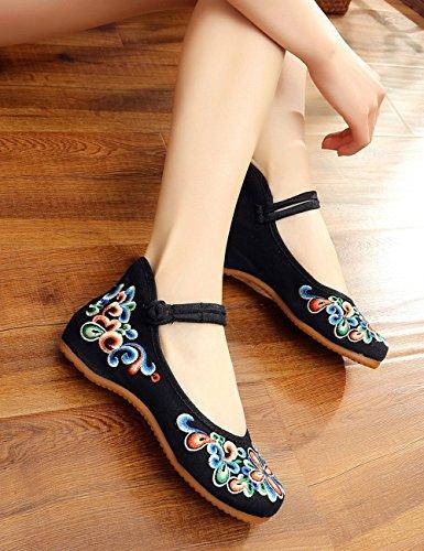 de Negro de Lona Ocasionales Pisos Zapatos Zapatos Temporada Flores matinales Ejercicios Ligeros Mary Jane Bordados Zapatos Bailarines de Mujer YxBUHwqFv