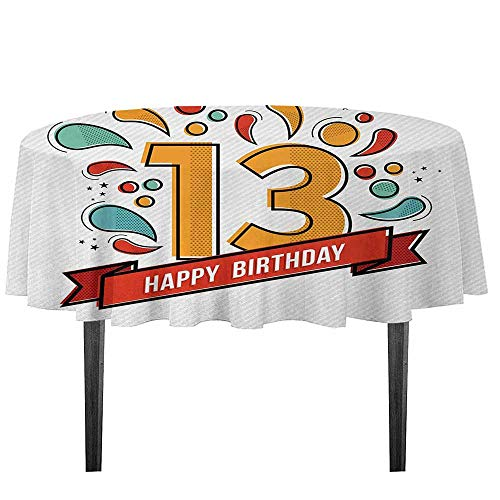 Red Line Xiii Game - kangkaishi 13th Birthday Leakproof Polyester Tablecloth Modern Line Art Style Greeting for Thirteen Years Old Artsy Geometric Design Outdoor and Indoor use D59.05 Inch Multicolor