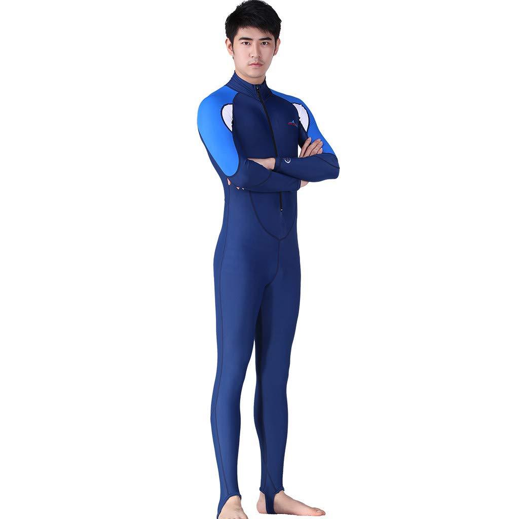 YunZyun Wetsuit Mens Snorkeling Surfing Scuba Diving Suit One-Piece Full Body Wetsuit Swim Suit (Blue, XXL)