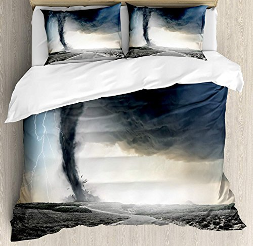 Lincoln Road Halloween Time (Nature 3 Pieces Duvet Cover Set, Black Tornado Funnel Gas and Thunder Rolling on The Road Fume Disaster Monochrome Print, Decorative Bedding Sets, Comforter Cover with 2 Pillow Shams, Grey,Twin)
