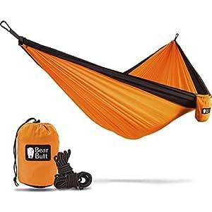 bear butt double parachute camping hammock orange   black amazon    bear butt double parachute camping hammock orange      rh   amazon