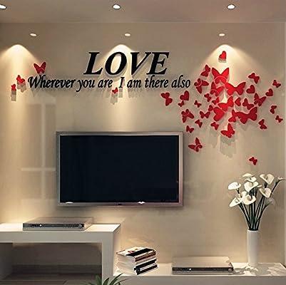 GHKLGY arte de acrílico espejo 3D pegatinas de pared DIY pegatinas de pared decorar sofá TV wall extraíble pegatinas de pared , B: Amazon.es: Hogar