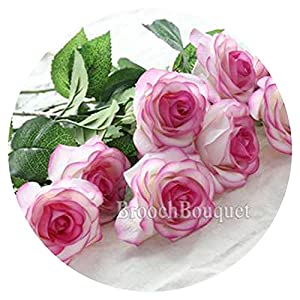 10Pcs 11Pcs/Lot Latex Rose Artificial Flowers Real Touch Rose Flowers for Year Home Wedding Decoration Party Birthday Gift,A Purple and White 1,10Pcs 29