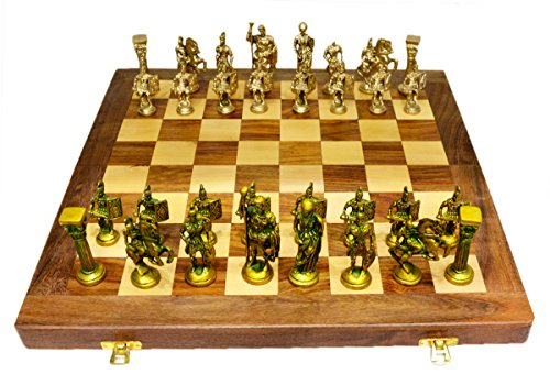 Amazing India Chess Set with Brass Sculpted Pieces in Ancient Roman Style and Wooden Board 16 inches