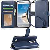 LG Aristo Case, LG Phoenix 3 Case, LG K8 2017 Case, LG Fortune Case, Arae LG Aristo wallet Case with Kickstand and Flip cover , Blue