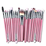 20 Piece Makeup Brushes Set Eye Shadow Eyebrow Contour Make Up Tools Professional Natural Beauty Palette Eyeshadow Popular Eyes Faced Colorful Rainbow Hair Highlights Glitter Travel Kit, Type-02