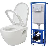 Festnight Inodoro WC Suspendido de Cerámica Blanco(Incluye Cisterna