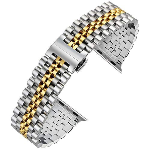Autulet for Apple Watch Band 40mm Stainless Steel Strap for Apple Watch Series 4/3/2/1 Silver Gold ()