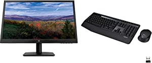 HP 21.5 -inch FHD Monitor with Tilt Adjustment and Anti-Glare Panel (22yh, Black) & Logitech MK345 Wireless Combo Full-Sized Keyboard with Palm Rest and Comfortable Right-Handed Mouse - Black