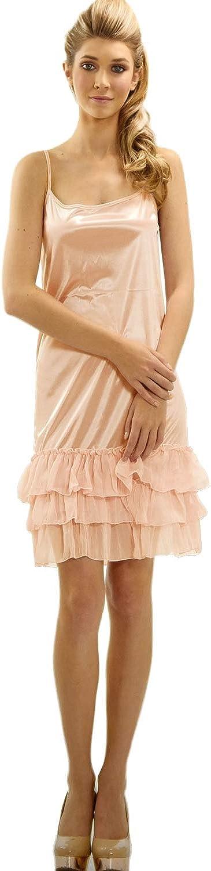 Melody Shop Lev Womens Satin Full Slip with Three Layered Sheer Ruffles