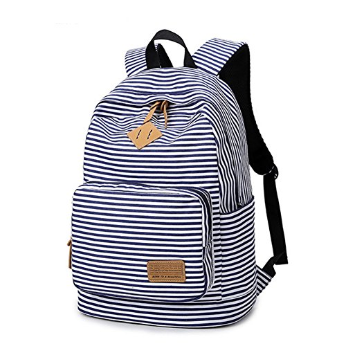 Artone Stripe School Bag Daypack Backpack With Laptop Compartment Deep Blue