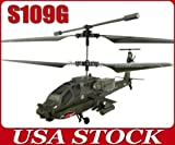 Syma S109G 22CM 3CH 3 Channel Infrared Control Mini RC Metal Indoor Helicopter with Gyro Flash Light Small Toy Gift Army-green