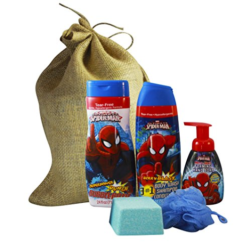 Spiderman Gift Set Featuring 3 in 1 Body Wash Shampoo Conditioner, Hand Soap, Mega Bomb Giant Fizzy Bath Bomb w/ Surprise Bath Squirter Toy Inside, and Body Pouf