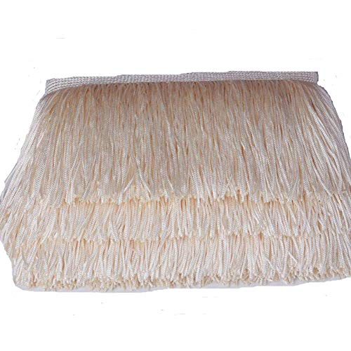 Ivory Tassel Fringe - CENFRY 10yards of 10'' Width Fringe Trim Tassel Sewing on Clothing (Ivory)