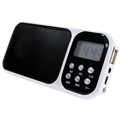 (SUPERSONIC PORTABLE RECHARGEABLE MINI SPEAKER WITH FLASH LIGHT, USB/MICRO SD/AUX INPUTS, ALARM CLOCK & FM RADIO (SC-1349 – WHITE))