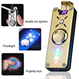LED Light Flameless Electronic Pulse Double Arc Lighter - Spin Rotatable Metal Body Plasma USB Rechargeable Wind Resistant Best for Lighting Cigarettes Candles Luxury Gift Box (Gold)