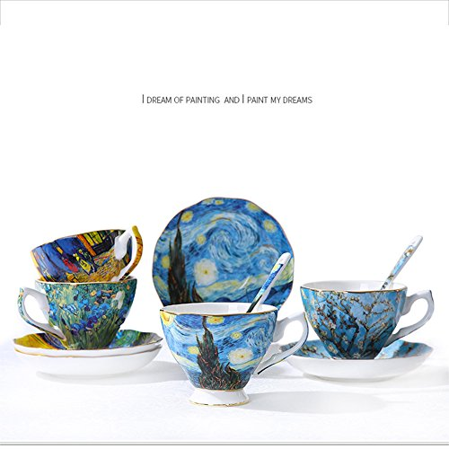 Vincent Van Gogh Bone China Tea Cup and Saucer Set With Gift Box, 8-Ounce Art Coffee Mugs Set (Set of 6) by Yosou Home (Image #7)