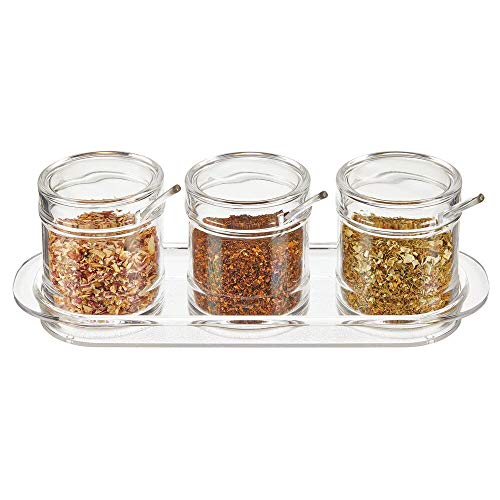 - mDesign Plastic Round Triple Seasoning Container, Condiment Jar with Lid and Spoon for Kitchen Countertop to Hold Salt, Pepper, Sugar Cubes, Spices, Sprinkles, Hot Pepper Flakes, Condiments - Clear