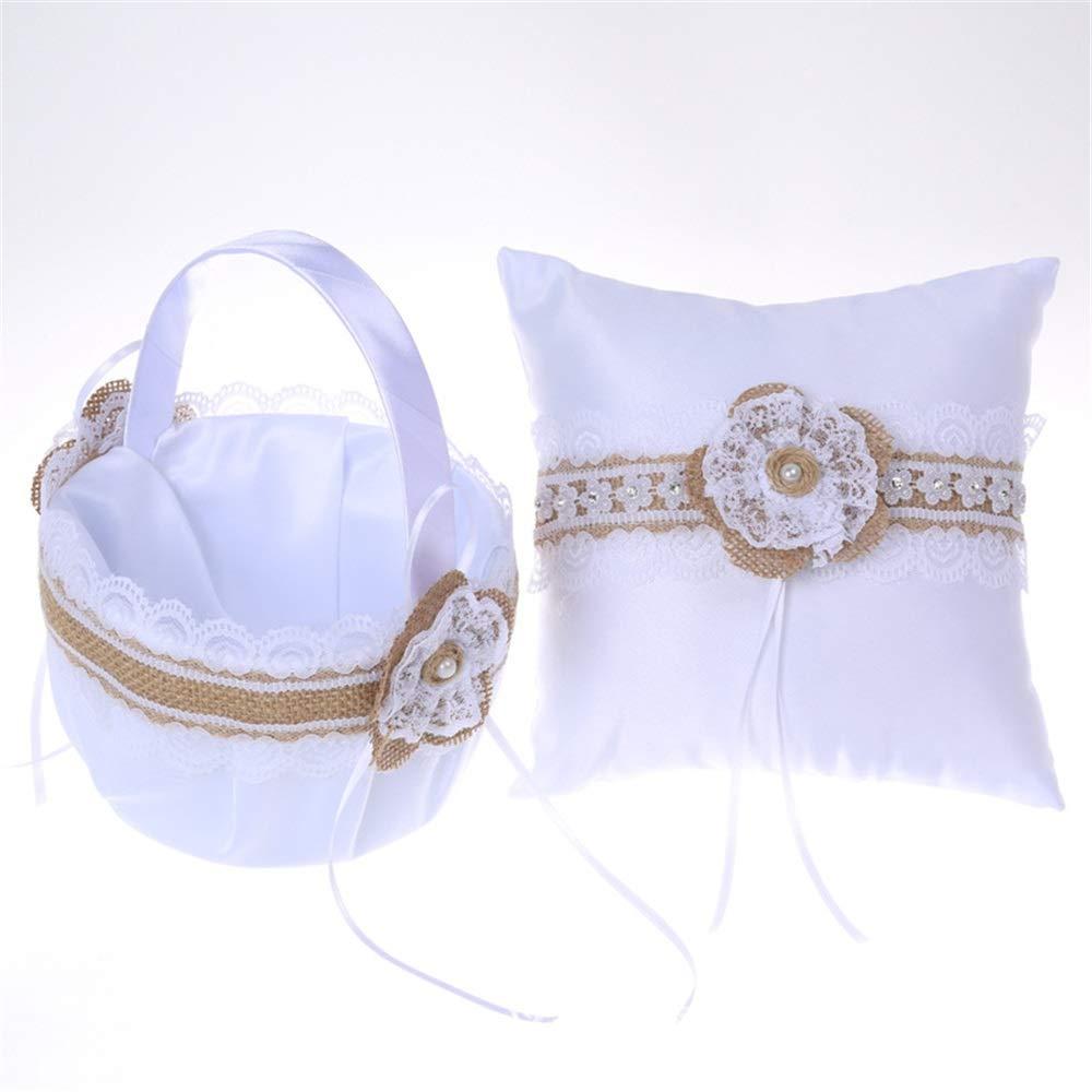 LPGK Wedding Flower Basket Womens Satin Wedding Flower Girl Flower Basket Bride Groom Ring Pillow Set White Wedding Accessory (Color : White)