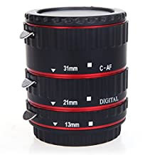 Canon lenses - SODIAL(R) TTL Auto Focus AF Macro Extension Tube Ring for EF EF-S Canon lenses Red