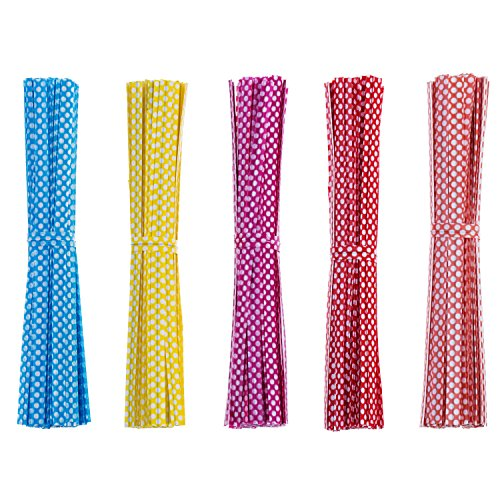Colored Ties Twist - Mudder 500 Pieces Dot Twist Ties 4 Inches Bag Ties for Cellophane Party Bag