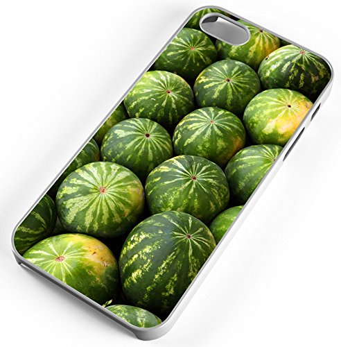iPhone 8 Plus 8+ Case Watermelon Melon Vine Ripe Seeds Food Fruit Green Group Customizable TYD Designs in White Rubber]()