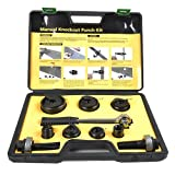 """Iwiss Protable Manual Knockout Punch Kit for 1/2"""",3/4"""",1"""",1-1/4"""",1-1/2"""",2"""" with Ratchet Wrench-1"""" HEX"""