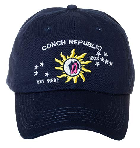 Artisan Owl Conch Republic Key West 1828 Navy Cap Hat -100% Cotton Embroidered ()