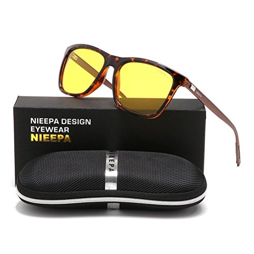 NIEEPA Square Polarized Sunglasses Aluminum Magnesium Temple Retro Driving Sun Glasses (Night Vision Lens/Leopard - Rated Driving Glasses Night Top