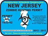New Jersey zombie hunting permit decal bumper sticker