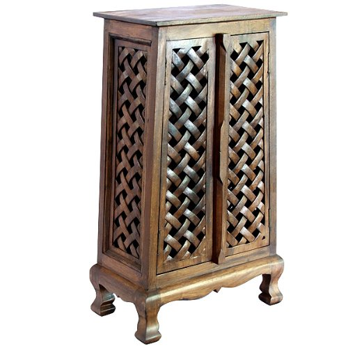 Exp 40-Inch Handmade Lattice Panels Storage Cabinet, Dark Brown
