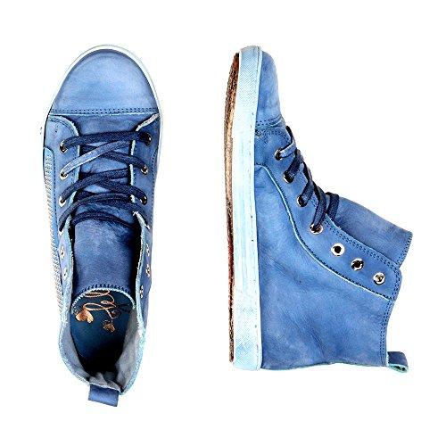 Felmini - Zapatos para Mujer - Enamorarse com Jomar 7846 - Sports shoes - Cuero Genuino - Azul - 0 EU Size Azul