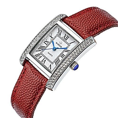 WWOOR Fashion Genuine Leather Women Watches coupons for Quartz Watch Classic Retro W79(red silver white) (White Leather Diamond Watch)