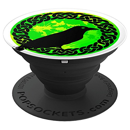 Medallions Birds (Irish Celtic Medallion And Black Crow Bird - PopSockets Grip and Stand for Phones and Tablets)