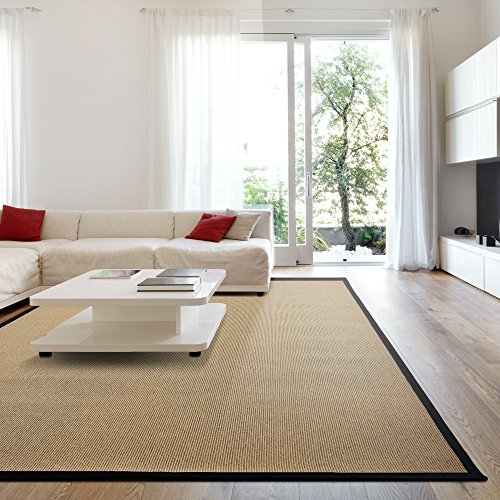icustomrug zara synthetic sisal rug softer than natural sisal rug stain resistant u0026 easy to clean beautiful border rug in black 8 feet 10