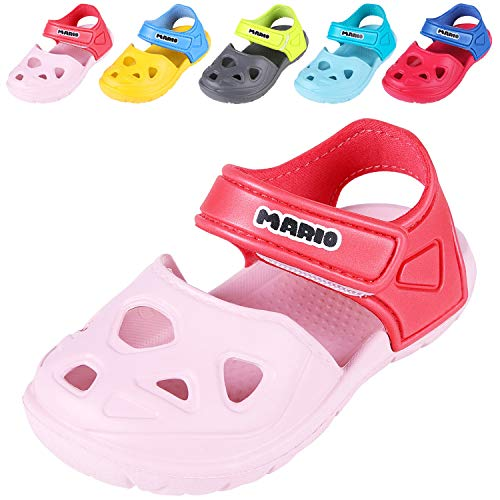 Comwarm Baby Girl Boy Summer Shoes Closed Toe Lightweight Sandals Anti-Slip Beach Shoes for Toddler 1-5 Years Old PK13 Pink