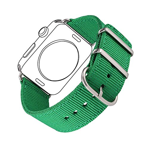 Bandmax Nylon Band Compatible Apple Watch 38MM/40MM, Green Grass Nylon Fabrics Replacement Strap Accessories Compatible iWatch Series4/3/2/1 Mix Stainless Steel Classic Buckle(Greenery)